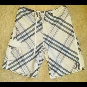 Mens size 32 purple and white Hurley swim shorts
